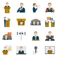Spreken in het openbaar pictogrammen