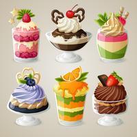 Snoepjes ijsmousse dessert set vector