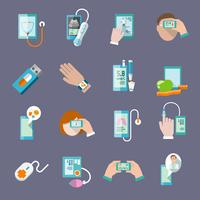 Mobiele gezondheidspictogrammen plat ingesteld