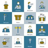 Spreken in het openbaar pictogrammen platte lijn