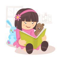 Meisje leesboek vector