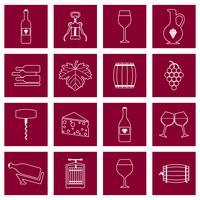Wijn pictogrammen instellen omtrek vector