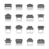 Sofa pictogram zwart vector