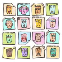 Schets emoticons stickers set vector