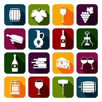 Wijnpictogrammen plat instellen vector