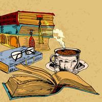 Kopje koffie en boeken vector