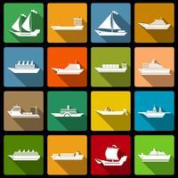 Schip en boten pictogrammen instellen plat vector