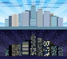 Cityscape betegelbare grens dag en nacht vector