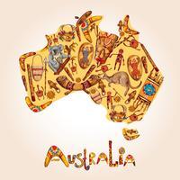 Australië schets gekleurde achtergrond