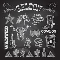 Cowboy schoolbord set