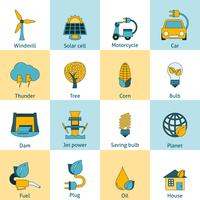 Eco energie pictogrammen instellen vector