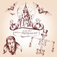 Halloween schets set vector