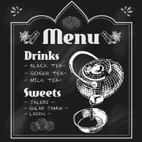 Theepot en theekopje schoolbord menu