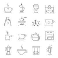 Koffie pictogrammen omtrek vector