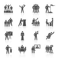 Leiderschap pictogrammen zwart