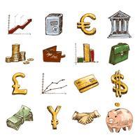 Financiënpictogrammen geplaatst gekleurde schets