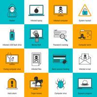 Hacker pictogrammen platte lijn