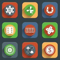 Casino platte ontwerpelementen vector