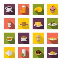Ontbijt pictogrammen plat