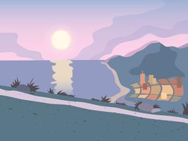 Zonsondergang weg achtergrond vector