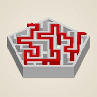 Maze 3d labyrinth met oplossing vector