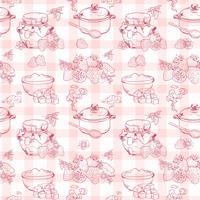 Aardbeienjam naadloze patroon vector