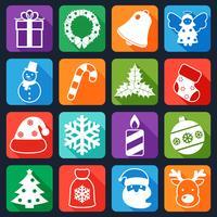 Kerst iconen instellen plat