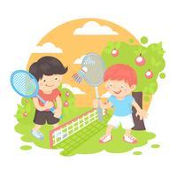 Jongens spelen badminton vector