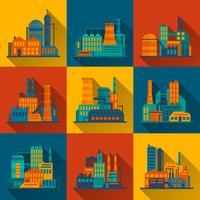 Industrieel gebouw pictogrammen instellen