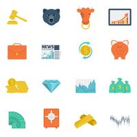 Financiën wisselen pictogrammen plat