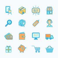 Winkelen e-commerce pictogrammen instellen platte lijn