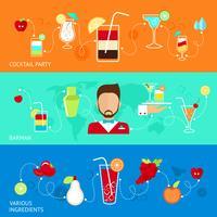 Cocktails platte banners vector