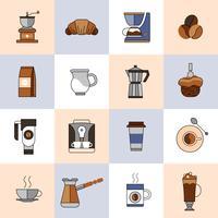 Koffie pictogrammen platte lijn set vector