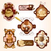 Koffieetiketten instellen vector