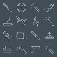 Timmerwerk gereedschappen pictogrammen schetsen
