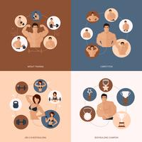 Bodybuilding Fitness Gym vlakke set vector
