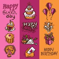 Verjaardag schets banner set vector