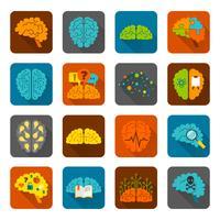Hersenen pictogrammen platte set vector