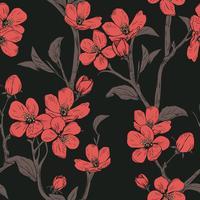 Bloeiende boom. Naadloos patroon met bloemen. Lente bloemen textuur. Hand getekend botanische vectorillustratie