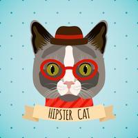 Hipster kattenportret vector