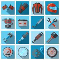 Motorfiets onderdelen flat set vector