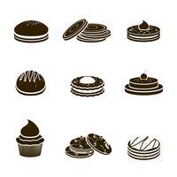 Cookies zwarte set vector