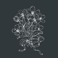 Bloeiende boom. Hand getekend botanische bloesem takken boeket op zwarte achtergrond. Vector illustratie