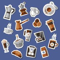 Koffie stickers instellen vector