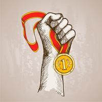 Hand met medaille vector