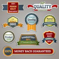 Stickers met kwaliteitslabels vector