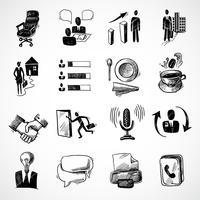 Office schets iconen set vector