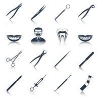 Tandheelkundige instrumenten pictogrammen instellen zwart