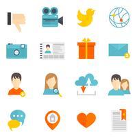 Sociale pictogrammen instellen plat vector