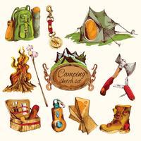 Camping schets set gekleurd
